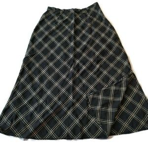 Eddie Bauer linen blend maxi skirt long plaid 6 8